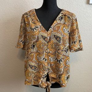 Michael Kors short sleeve tie front blouse size L